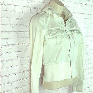 🌟Lux white crop hoodie jacket long sleeves cute
